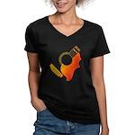 guitar 3 Women's V-Neck Dark T-Shirt