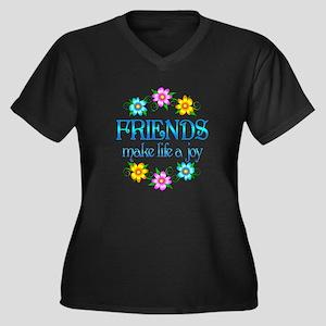 Friendship Joy Women's Plus Size V-Neck Dark T-Shi