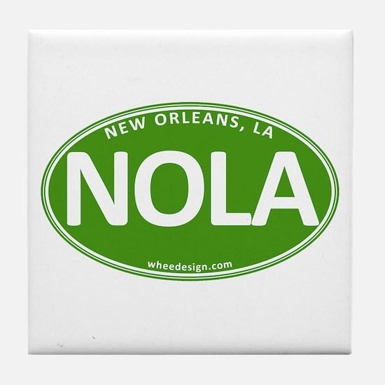 Green Oval NOLA Tile Coaster