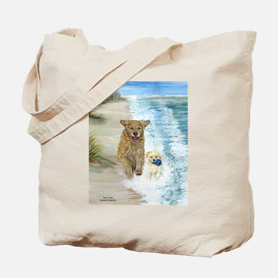 Golden Surf Dogs Tote Bag