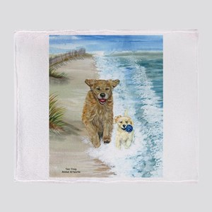 Golden Surf Dogs Throw Blanket