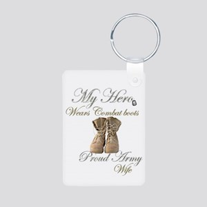 Combat boots Proud Wife Aluminum Photo Keychain