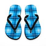 Blue Plaid Squares Flippity Flop Flip Flops