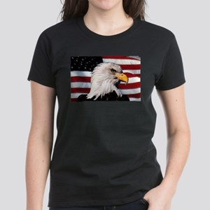 Bald Eagle Flag Water Color Women's Dark T-Shirt