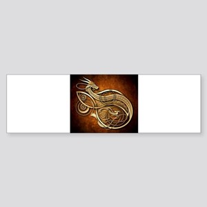 Gold Norse Dragon Bumper Sticker