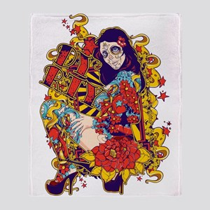 Tattooed Dirty Girl Throw Blanket