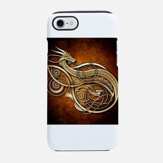 Gold Norse Dragon iPhone 7 Tough Case