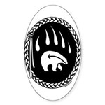 Tribal Bear Claw Sticker (Oval)