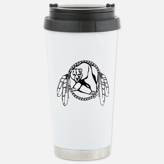 Tribal Bear Art Stainless Steel Travel Mug