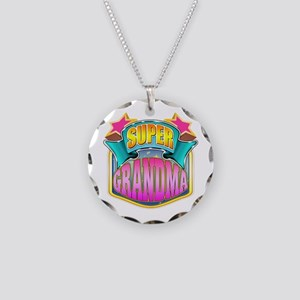 Pink Super Grandma Necklace Circle Charm