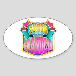 Pink Super Grandma Sticker (Oval)