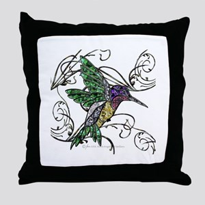 Gem Hummingbird Throw Pillow