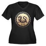 seiryu Women's Plus Size V-Neck Dark T-Shirt