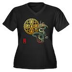 dragon mandala 1 Women's Plus Size V-Neck Dark T-S