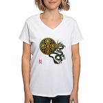 dragon mandala 1 Women's V-Neck T-Shirt