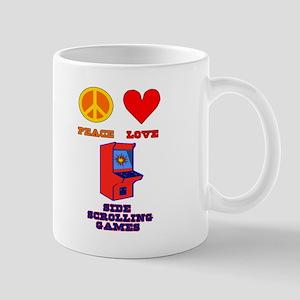 Peace Love Side Scrolling Games Mug