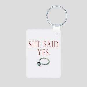 She Said Yes Aluminum Photo Keychain