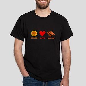 Peace Love Bacon Dark T-Shirt