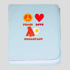 Peace Love Breakfast baby blanket