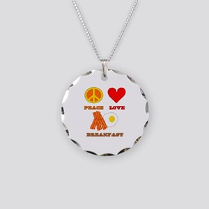 Peace Love Breakfast Necklace Circle Charm