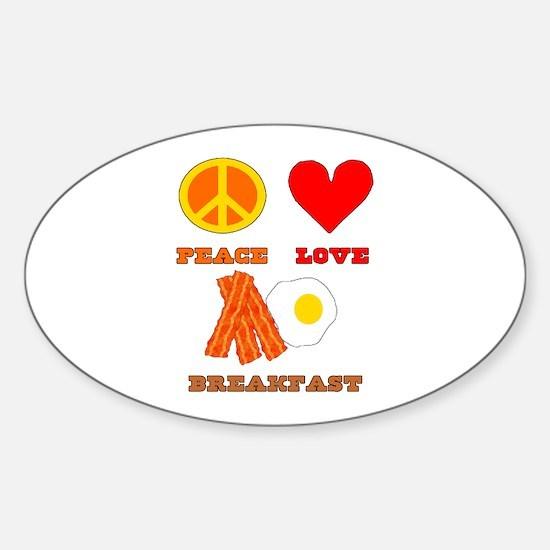 Peace Love Breakfast Sticker (Oval)