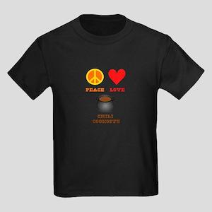 Peace Love Chili Cookoff Kids Dark T-Shirt