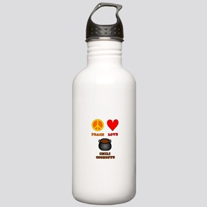 Peace Love Chili Cookoff Stainless Water Bottle 1.
