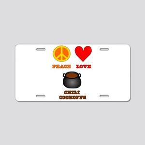 Peace Love Chili Cookoff Aluminum License Plate