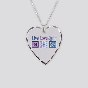 Live Love Quilt Necklace Heart Charm