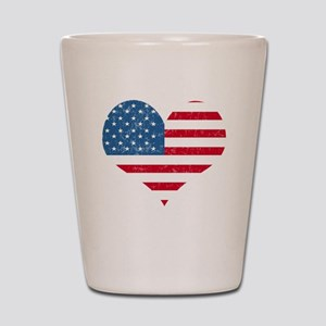 American Flag Heart Shot Glass