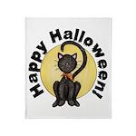 Black Cat Full Moon Throw Blanket