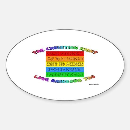 CHRISTIAN RIGHTS RAINBOW Oval Decal