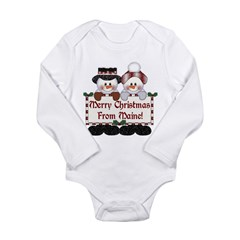 Merry Christmas From Maine! Long Sleeve Infant Bod