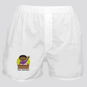 Little Boy at School (Black) Boxer Shorts