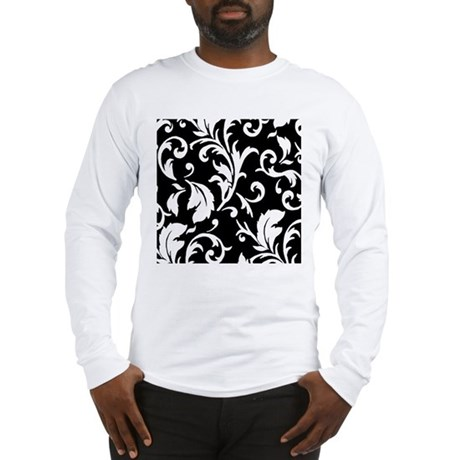 BLACK AND WHITE DAMASK Long Sleeve T-Shirt
