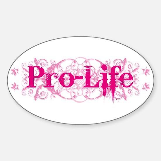 Pro-Life (pink) Sticker (Oval)