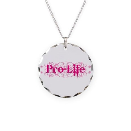 Pro-Life (pink) Necklace Circle Charm
