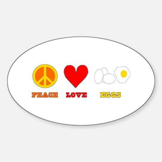Peace Love Eggs Sticker (Oval)