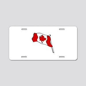 Waving Canadian Flag Aluminum License Plate