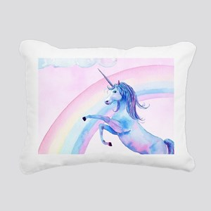 Unicorn Watercolor Rectangular Canvas Pillow
