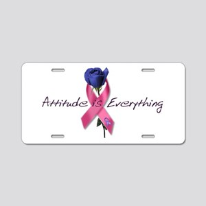 Pink Ribbon - Attitude Aluminum License Plate