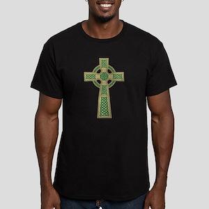 Gold Celtic Cross Men's Dark Fitted T-Shirt