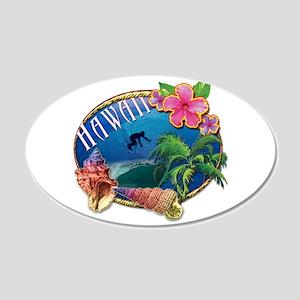 Surf Hawaii 22x14 Oval Wall Peel