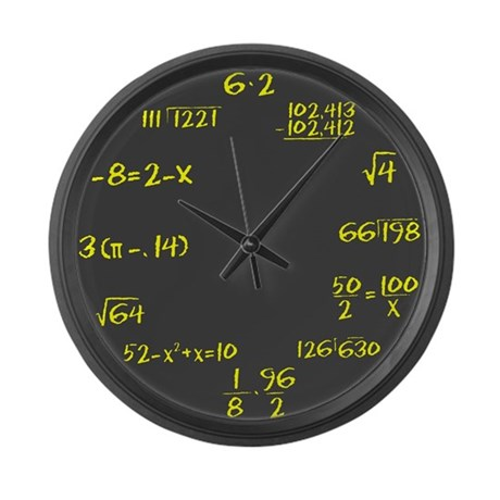 Gray Slate with Yellow Chalk Large Wall Clock