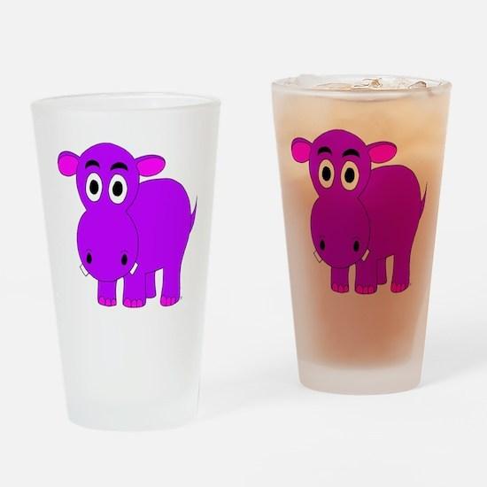 Purple Hippo Drinking Glass