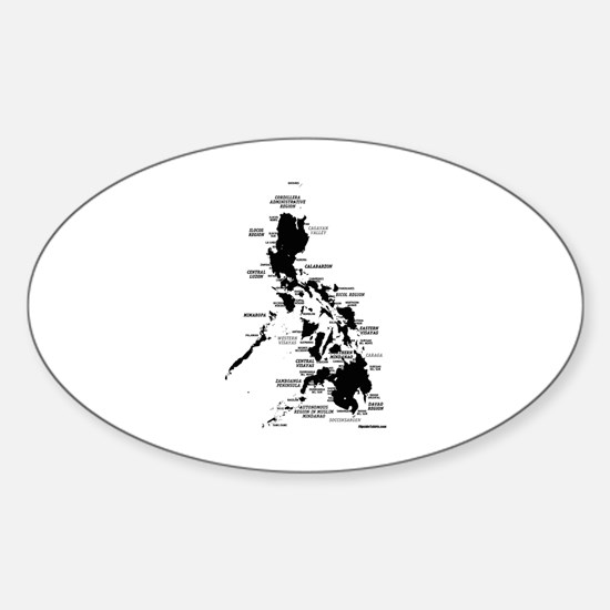 Philippines Rough Map Sticker (Oval)