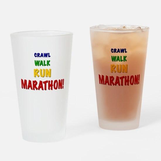 Crawl Walk Run Marathon Drinking Glass