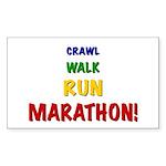 Crawl Walk Run Marathon Sticker (Rectangle 50 pk)