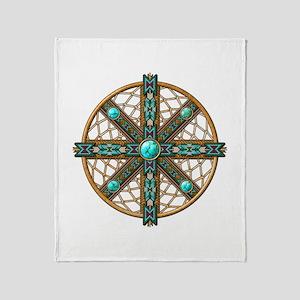 Native American Beadwork Mandala Throw Blanket