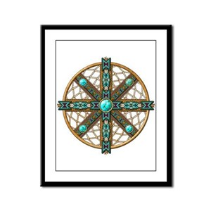 Native American Beadwork Mandala Framed Panel Prin